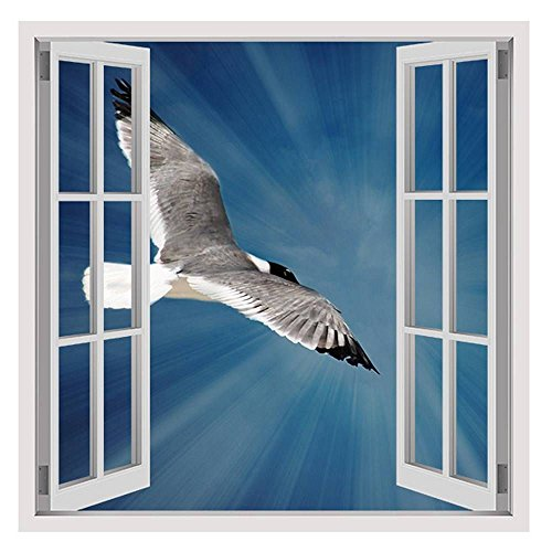 Alonline Art - Seagull Flying In Blue Sky by Fake 3D Window | framed stretched canvas on a ready to hang frame - 100% cotton - gallery wrapped | 12