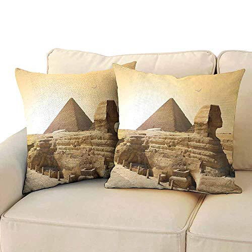 (Ancient Decor Pillowcase Art kit for Kids Egyptian Pyramids Famous Great Landmark Wonders of The World Heritage View W24xL24 Sand)