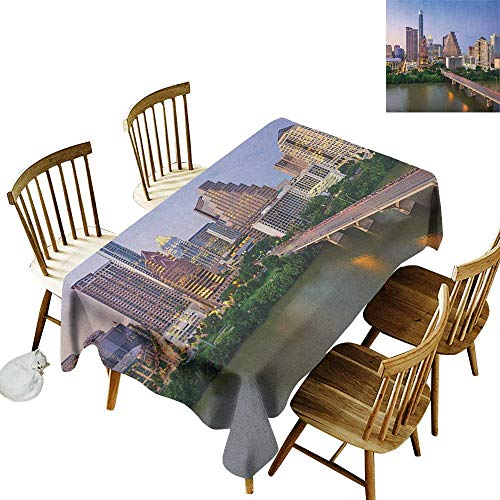 kangkaishi Rectangular tablecloths in a Variety of Colors and Sizes Can be Used for Parties Austin Texas American City Bridge Over The Lake Skyscrapers USA Downtown Picture W60 x L102 -