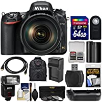 Nikon D750 Digital SLR Camera & 24-120mm f/4 VR Lens with 64GB Card + Backpack + Flash + Battery & Charger + Grip + Filters + Kit