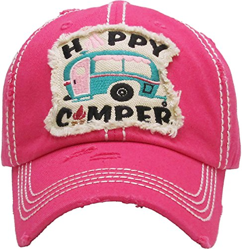 H-212-HCB24 Distressed Vintage Patch Hat: Happy Camper (Block Text) - ()