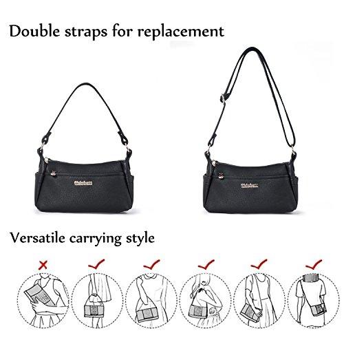 with Vegan Purse Crossbody Pockets Leather Handbag Many Women Pocket Bags Black Multi Small Katloo Shoulder Black OPxtww