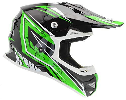 - Vega Helmets Unisex-Child Kids Youth Dirt Bike, Motocross Full Face Helmet for Off-Road ATV MX Enduro Quad Sport (Green Tactic Graphic MEDIUM