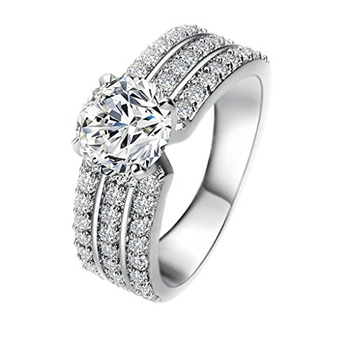 Women 18K Gold Plated Clear Crystal Cubic Zirconia Ring Size 5.25 - 3