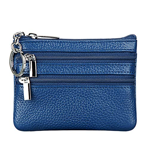 (Women's Genuine Leather Coin Purse Mini Pouch Change Wallet with Key Ring,blue )