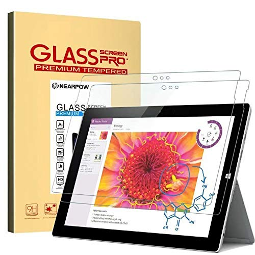 Microsoft Surface 3 Screen Protector 10.8 Inch, [2 Pack] Nearpow Tempered Glass Screen Protector with [9H Hardness] [2.5D Round Edge] [Crystal Clear] [Easy Bubble-Free Installation] [Scratch Resist] 3 Screen Protector Guard