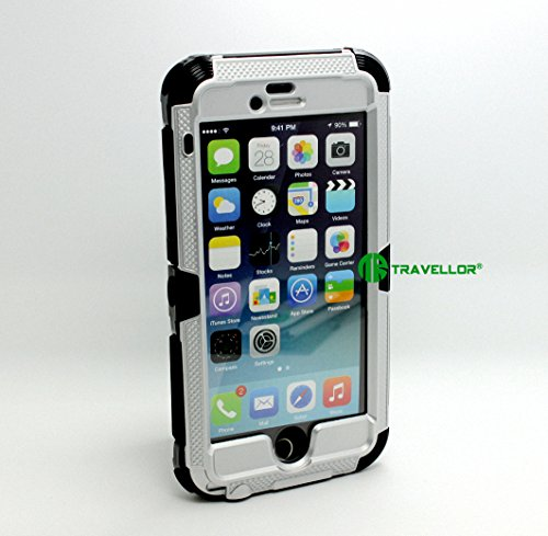 """iPhone 6 Case,iPhone 6 Heavy Duty Case,iPhone 6 Metal Case,Travellor® [Full Protection ] Case *Rain proof* *Scratchproof* *Shock proof* *Dirt proof* Kids Proof Case Military Standard Designed [IP68 certified] Kick Stand with charging Cable Hard Shell Cover for Apple iPhone 6 4.7 Inch(NOT compatible to iPhone 6 Plus 5.5"""") [Gifts Outdoor Carabiner + Lens Wipes+Phone Chain(Travellor Brand)] (silver)"""