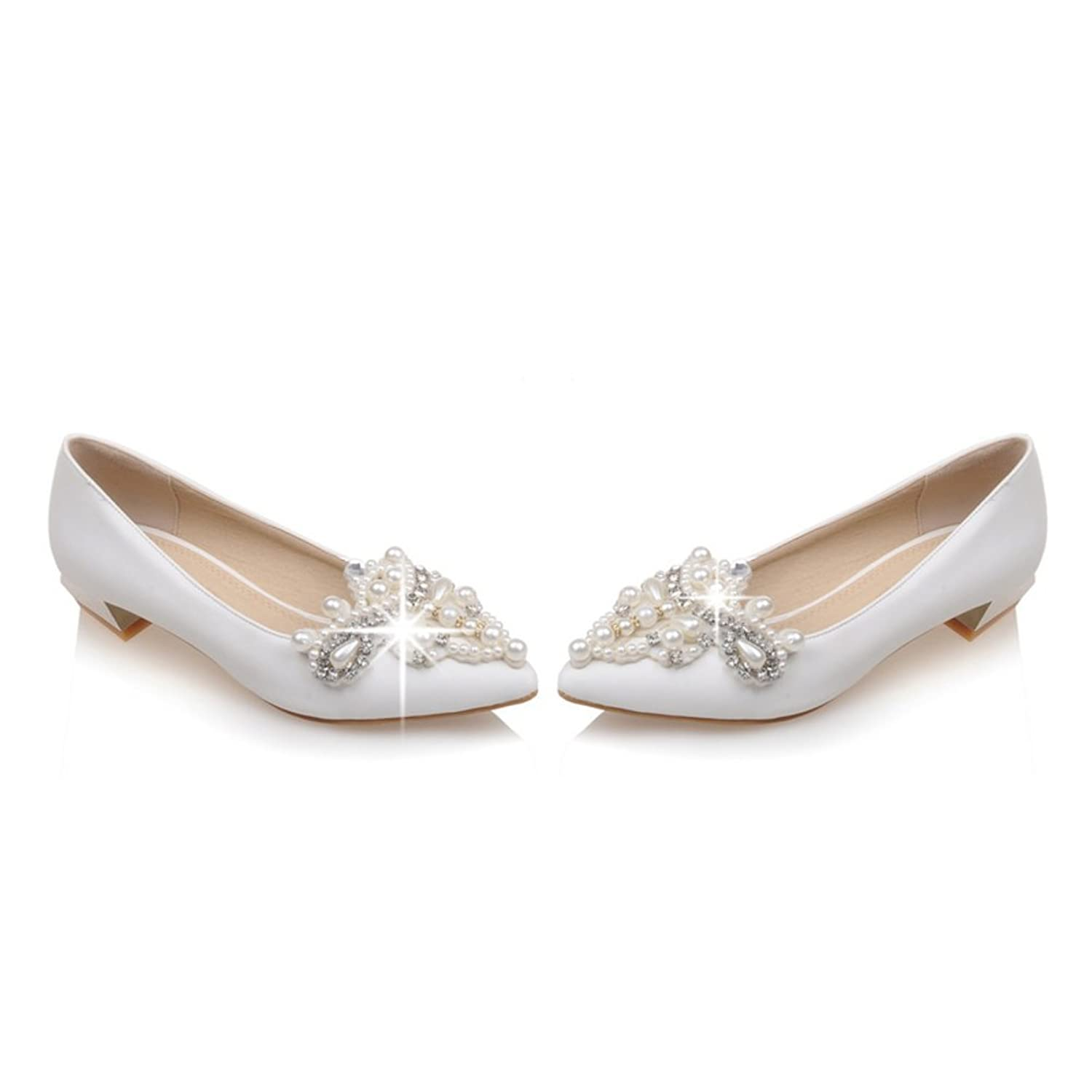 Bridal Shoes Beaded Pointy Crude With Low Heels Shoes Pregnant