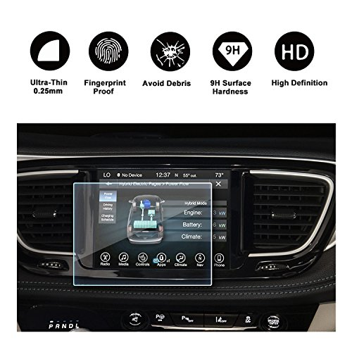 2016 2017 2018 Chrysler Pacifica Uconnect Display Navigation Screen Protector, HD Clear Tempered Glass Screen Guard Shield Scratch-Resistant Ultra HD Extreme Clarity (8.4-Inch Navigation Screen)