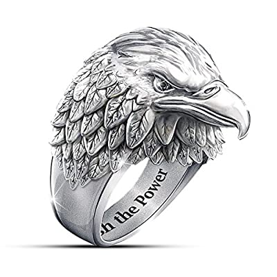 Stainless Steel American Eagle Men's Ring With Black Sapphires by The Bradford Exchange