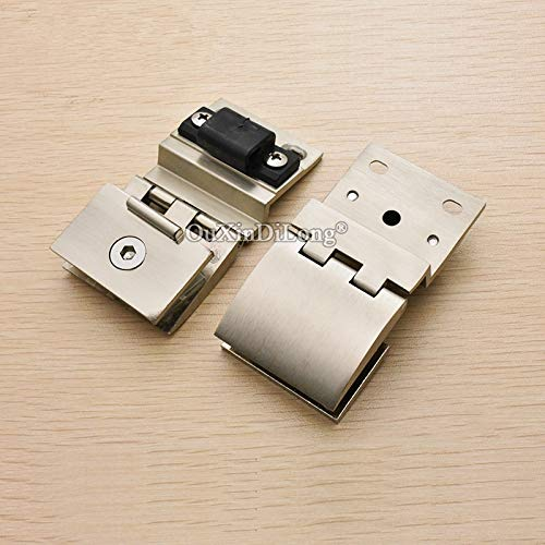 10PCS Glass Cabinet Hinges Wine/Display Showcase Cabinet Door Hinges Glass Clamps Hinge Brushed Finished for 5~8mm