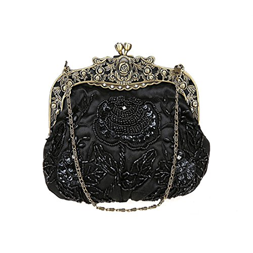 Purse Evening Wedding Party Antique Satin Floral Clutches Women Cocktail Clutch Black 4Oxwa7F