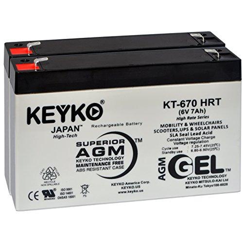 Battery 6V 7.0Ah - 2 Pack Fresh & REAL 7.8 Amp - GEL Deep Cycle AGM/SLA Designed for Generic Use - Genuine KEYKO KT-670 HRT - F1 Terminal (6 Volt Battery For Ride On Toys)