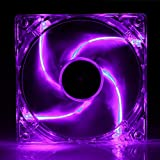 5 Stars Computer 120mm, 12cm Quad-4 Purple LED Computer Desktop PC Case Clear Cooling Fan, 3 and 4 pin Connector with Screws, Quiet and Silent
