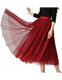 XINUO Women Elastic Waist 4 Layers Gauze Tulle Ball Gown Big Swing OL Long Skirt Spring Summer Midi Night Out Daily Skirts