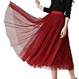 XINUO Women Elastic Waist 4 Layers Gauze Tulle Ball Gown Big Swing OL Long Skirts (One-Size, Wine Red)
