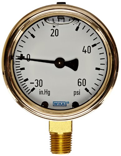 WIKA 9318038 Industrial Pressure Gauge, Liquid-Filled, Copper Alloy Wetted Parts, 2-1/2