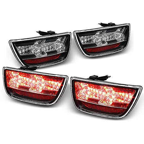 For 10-13 Chevy Camaro Black Rear Full LED Tail Lights Brake Lamps Replacement Pair 4pcs Left + Right