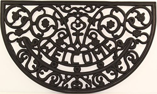 Half Round Iron - Half Round Wrought Iron Rubber Welcome Mat, 16