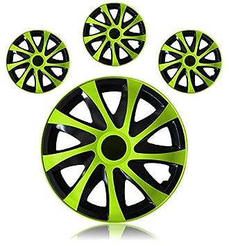 Tapacubos - Tapacubos Tapacubos DRACO bicolor verde 15 15 Pulgadas Skoda Fabia 6Y, 5J, Octavia 1U GL Praktik, Roomster 5J,: Amazon.es: Coche y moto