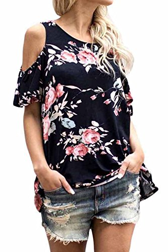 [Chase Secret Womens Cold shoulder Floral Print With Ruffle Sleeve Blouse Casual Tops T Shirt Small Black] (Floral Ruffle Top)