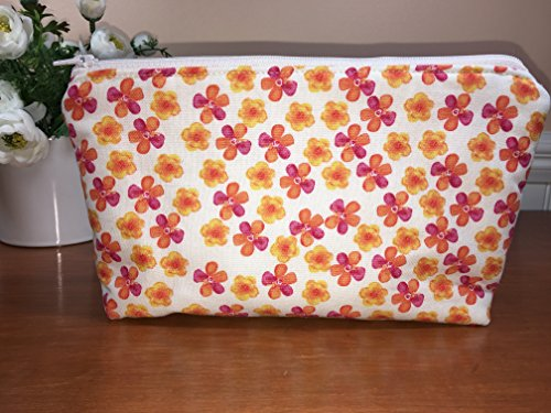 Medium Orange and Pink Flowers Zipper Pouch, Cosmetic Bag, Travel Pouch