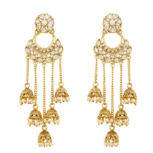 Ratna Exclusive Gold Plated American Diamond Stone Gold Line Jhumki Earrings Dangle Drop Traditional Fashion jewelry ()