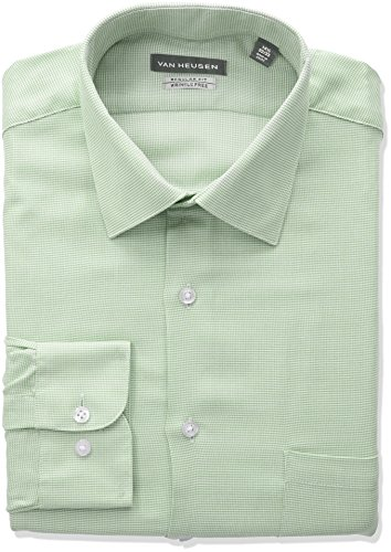 Van Heusen Men's Regular Fit Micro Houndstooth Spread Collar Dress Shirt, Teak, 17