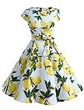652bd40f31 Dressystar Women Vintage 1950s Retro Rockabilly Prom Dresses Cap-sleeve XS  Lemon