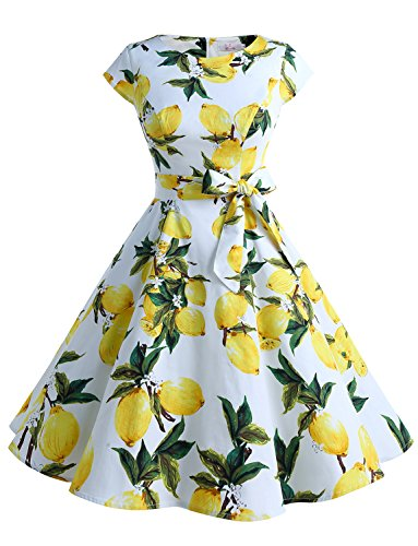 Dressystar Women Vintage 1950s Retro Rockabilly Prom Dresses Cap-Sleeve S Lemon ()