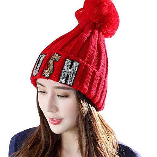 (Women's Winter Ribbed Velvet Letter Print Knit Faux Fur Pompoms Chunky Lined Beanie Hats (Red))