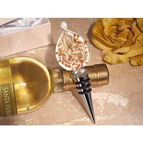 Stunning Murano Design Gold and White Bottle Stopper - 84 Pieces by Cassiani