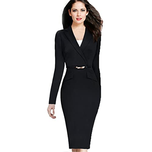 BuLaDou Women's Solid Work Dress Slim Package Hip Work Dress V-Neck With Sashes Female Vestido Lady ...