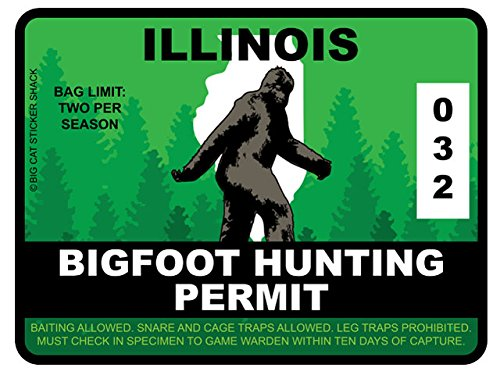 Bigfoot Hunting Permit - ILLINOIS (Bumper Sticker)
