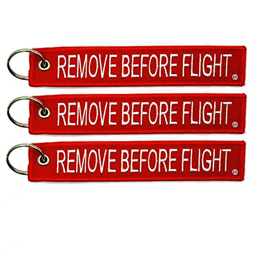 3x Remove Before Flight Red Key Chain by Apex Imports(3 Pack)