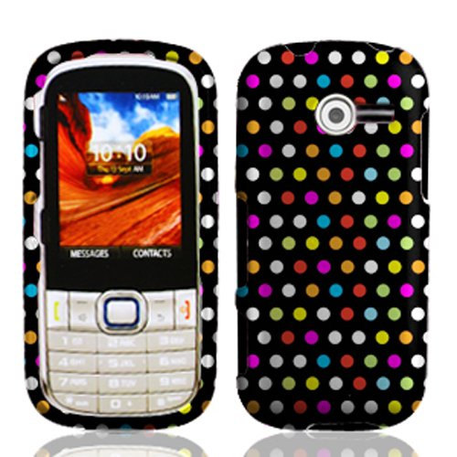 Luckiefind Designer Hard Case Cover, Stylus Pen & Wiper Accessory for Samsung Array / Montage M390 (Boost Mobile, Sprint, Virgin Mobile) (Rainbow Dot)