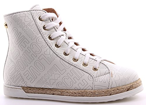 Zapatos Mujer Sneakers LOVE MOSCHINO High Top Roma Nappa PU White Blanco Nueve