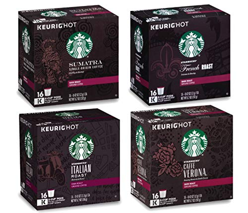 Starbucks Coffee K-Cup Dark Roast Variety Pack of 4 Flavors - Sumatra + French Roast + Italian Roast + Caffe Verona - Single Serve Cup 16 Ct Each - 64 Pods Total for Keurig Brewers