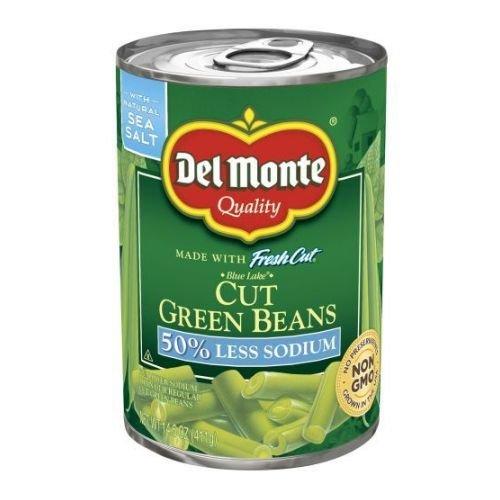 Del Monte Low Sodium Easy Open Cut Green Beans, 14.5 Ounce - 12 per case.