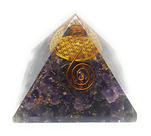 ORGONE Pyramid Amethyst with The Flower of Life Symbol,ORGONITE Energy Generator with Crystal Quartz Point & Exquisite Gemstones & Reiki Energy