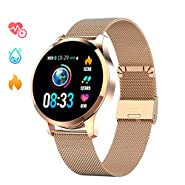 GOKOO Smart Watch for Men Women with All-Day Heart Rate Blood Pressure Sleep Monitor IP67 Waterproof Activity Tracker Calorie Running Counter Gold