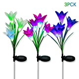 Litake LED Solar Garden Flower Lights,3 Pack Upgraded Solar Garden Stake Lights Outdoor, IP65 Waterproof RGB 7 Colors Changing LED Solar Pathway Lights for Garden Patio Backyard