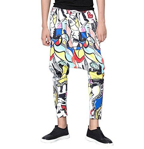 ellazhu Men Abstract Print Pockets Pencil Skinny Harem Pants GYM88