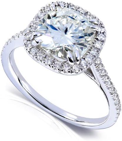 Kobelli Forever One (D-F) Moissanite Engagement Ring 2 1/4 ctw 14k White Gold