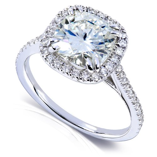 Forever One (D-F) Moissanite Engagement Ring with Diamond 2 1/4 ctw 14k White Gold, Size 4