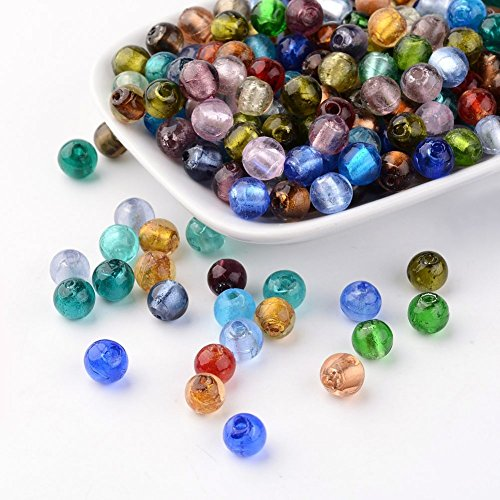 Craftdady 200pcs Mixed Colors Round Lampwork Glass Beads Loose Beads Charm for Bracelets Earrings Necklace Jewelry Making 8mm