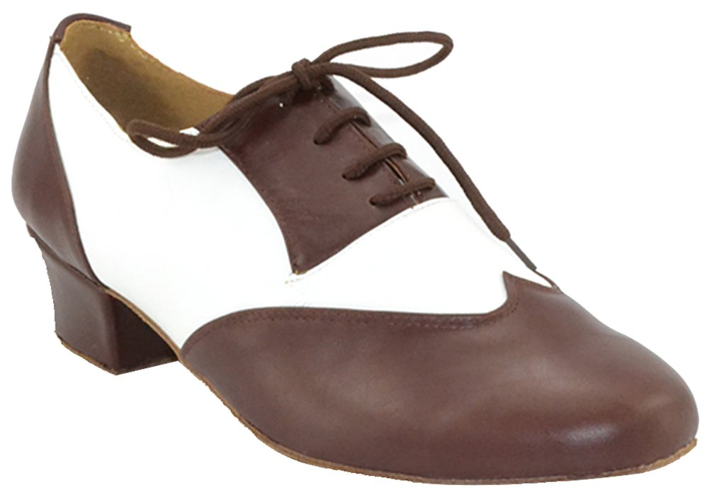 Abby 1076 Mens Wedding Party Ballroom Tango Closed Toe Leather Chacha Happy Hour Dance Shoes Brown US 9.5(1.6IN)