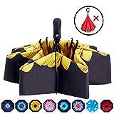 Fidus Inverted Reverse Sun&Rain Car Umbrella Large Windproof Travel UV Umbrella for Women Men - Auto Open Close(Sunflower-2)