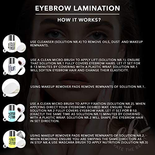 Elevate the Beauty Eyebrow Lamination Kit | At Home DIY Perm For Your Brows | Instant Professional Lift For Fuller Eyebrows | Brow Brush And Micro Brushes Included
