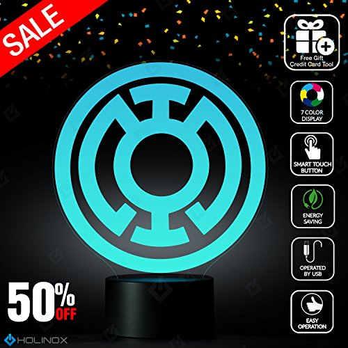 Blue Lantern Corps Lighting Decor Gadget Lamp   Sticker Decor For Perfect Set  Awesome Gift  Mt018